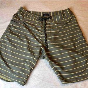 Patagonia Mens Shorts Green Yellow Stripe